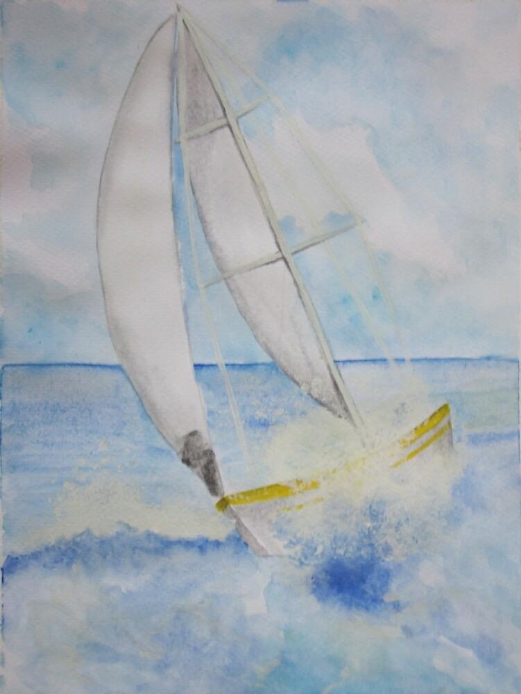 Sailing boat Watercolor by Afadavid