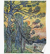 Vincent Van Gogh - Pine Trees Against An Evening Sky, 1889 Poster
