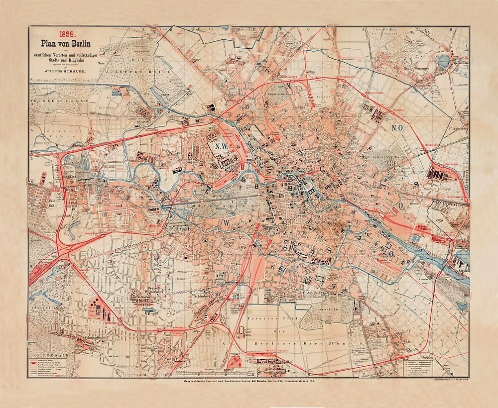 Map Of Berlin 1895 by mollyfare