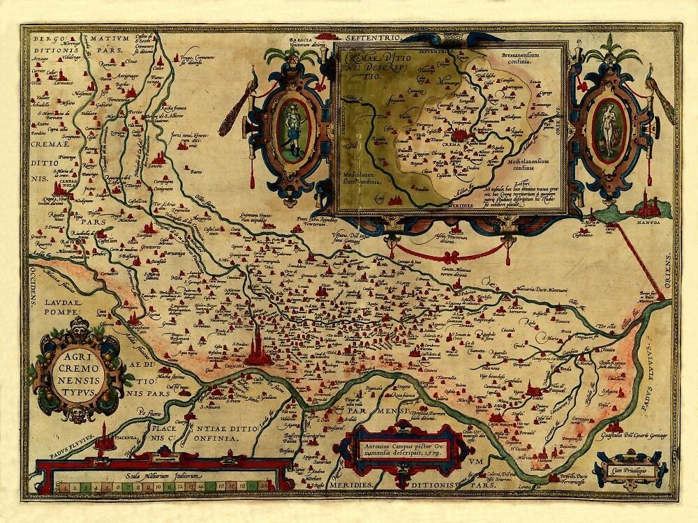 Map Of Cremona 1579 by mollyfare