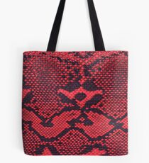 Red Faux Leather Snakeskin Tote Bag
