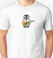 Musical Baby Penguin Playing Guitar Pink Unisex T-Shirt