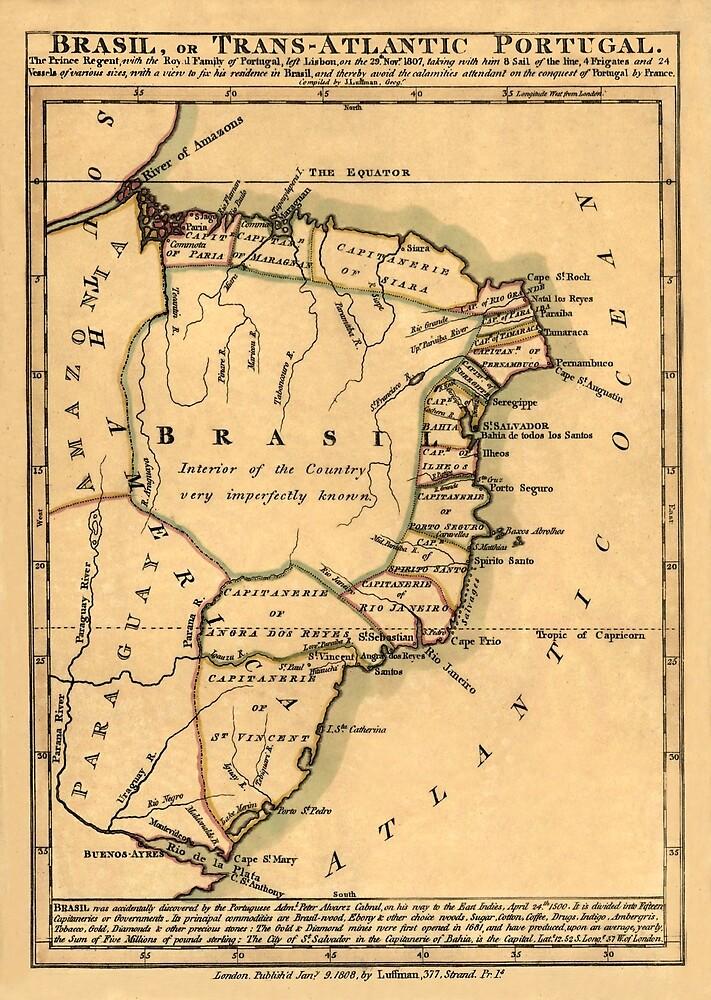 Map Of Brazil 1808 by mollyfare