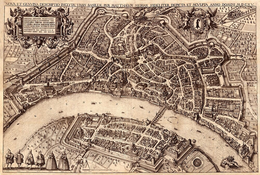 Map Of Basel 1615 by mollyfare