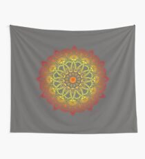 Vivid Fire Watercolor Mandala Wall Tapestry
