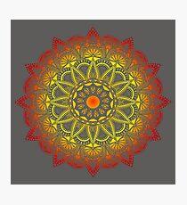 Vivid Fire Watercolor Mandala Photographic Print
