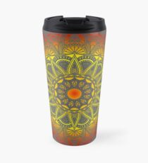 Vivid Fire Watercolor Mandala Travel Mug