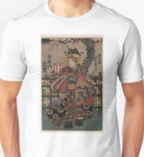 Anonymous - courtesan Hanamurasaki of Tama-ya - Circa 1855 - Woodcut T-Shirt