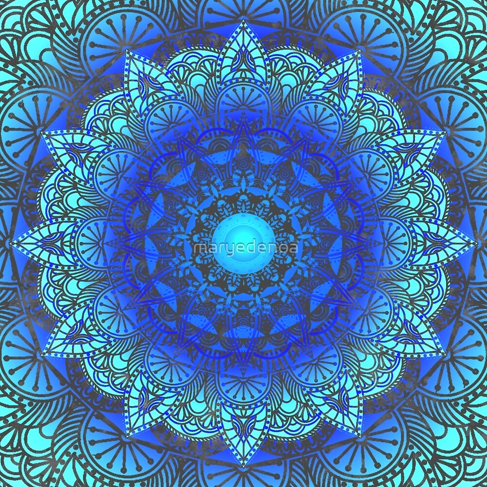 Blues  Watercolor Flower Mandala by maryedenoa