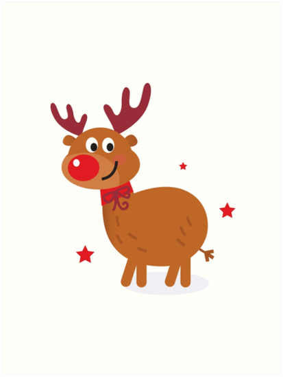 Christmas red nose reindeer by Bee and Glow Illustrations Shop