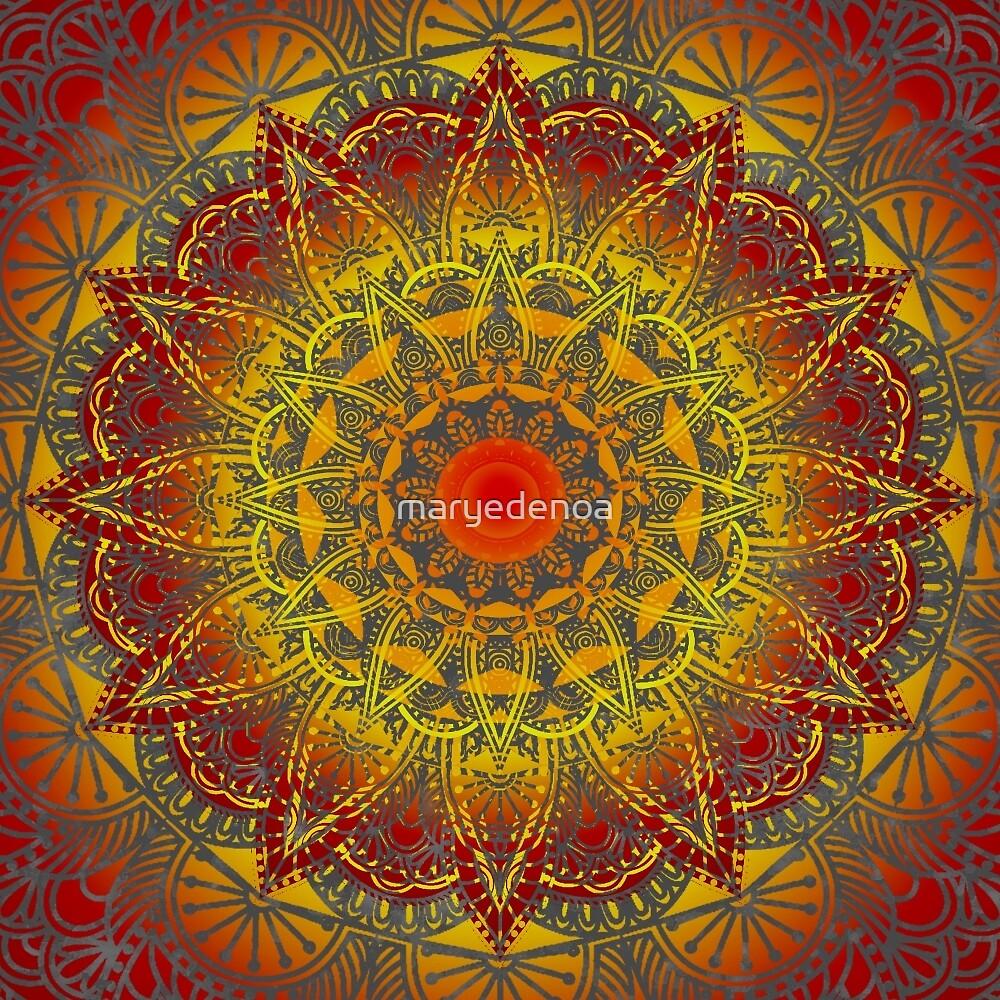 Oriental Watercolor Flower Mandala by maryedenoa