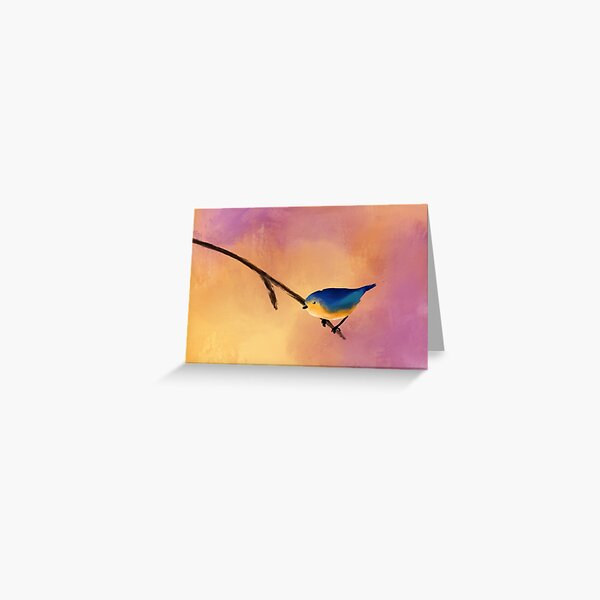 Abstract Blue/Yellow Bird Painting Greeting Card