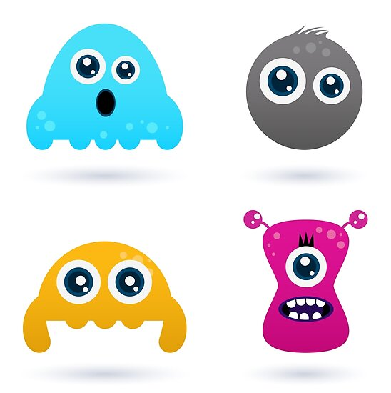Cute monster or germs characters collection by Bee and Glow Illustrations Shop