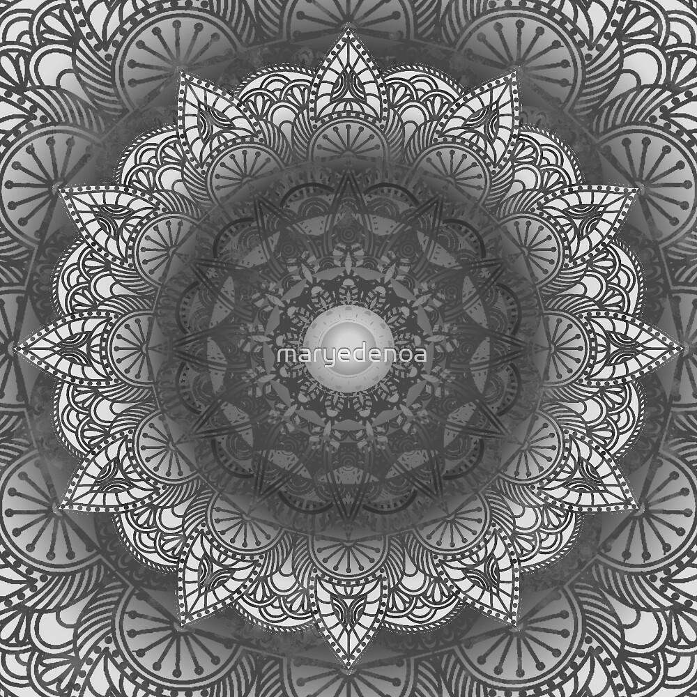 Black And White Flower Mandala by maryedenoa