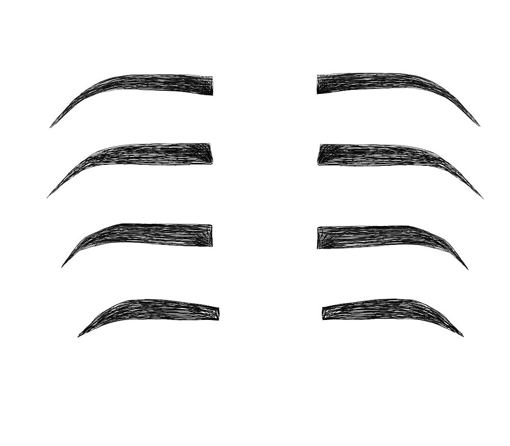 Four Eyebrow Styles on White Background by aavagracee