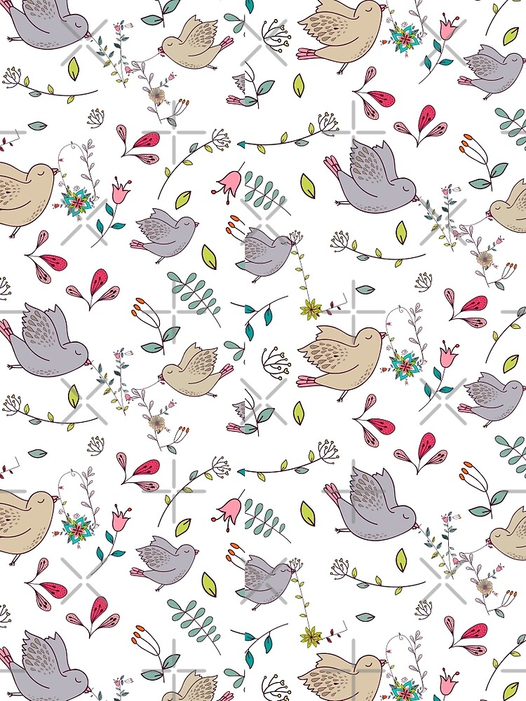 Sweet little birds in flight with bright colourful flowers and leaves, a fun pretty repeating illustration on white, classic statement fashion clothing, soft furnishings and home decor  by Mindreader