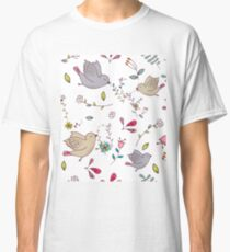 Sweet little birds in flight with bright colourful flowers and leaves, a fun pretty repeating illustration on white, classic statement fashion clothing, soft furnishings and home decor  Classic T-Shirt