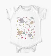 Sweet little birds in flight with bright colourful flowers and leaves, a fun pretty repeating illustration on white, classic statement fashion clothing, soft furnishings and home decor  One Piece - Short Sleeve