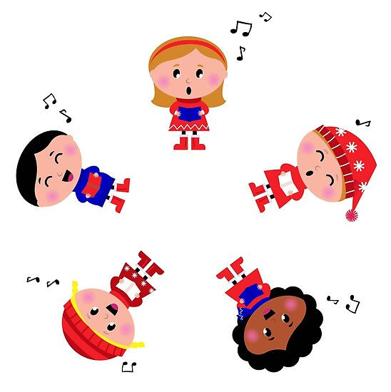 Cute christmas kids singing and caroling by Bee and Glow Illustrations Shop