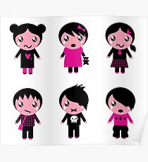 Collection of emo teen characters Poster