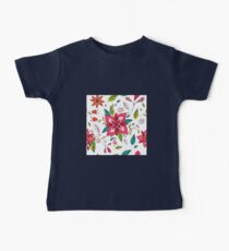 Pretty pink flowers pen and ink drawing, cottage style repeating design, white background, classic statement fashion clothing, soft furnishings and home decor  Baby Tee
