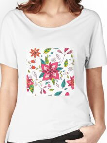 Pretty pink flowers pen and ink drawing, cottage style repeating design, white background, classic statement fashion clothing, soft furnishings and home decor  Women's Relaxed Fit T-Shirt