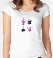 Cute cartoon robot characters Women's Fitted Scoop T-Shirt