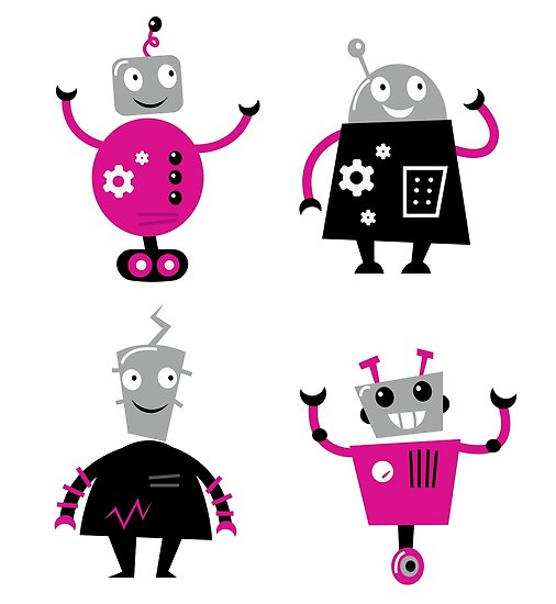 Cute cartoon robot characters by Bee and Glow Illustrations Shop