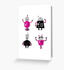 Cute cartoon robot characters Greeting Card