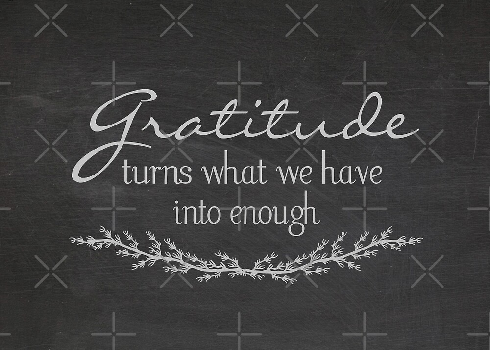 Gratitude quote on chalkboard by Maria Dryfhout