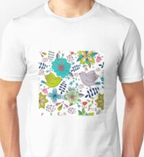 Sweet birds with flowers, a cute line drawing with pretty pattern in turquoise blue and lime green on a white background, classic statement fashion clothing, soft furnishings and home decor  Unisex T-Shirt