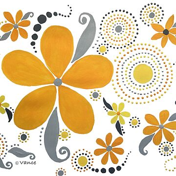 GARDEN PARTY #3 YELLOW & GRAY by ethereal-earth