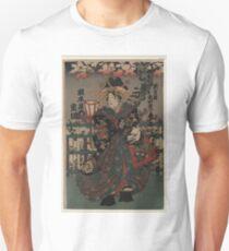 Anonymous - Courtesan Shigeoka of Okamoto-ya - Circa 1855 - Woodcut T-Shirt