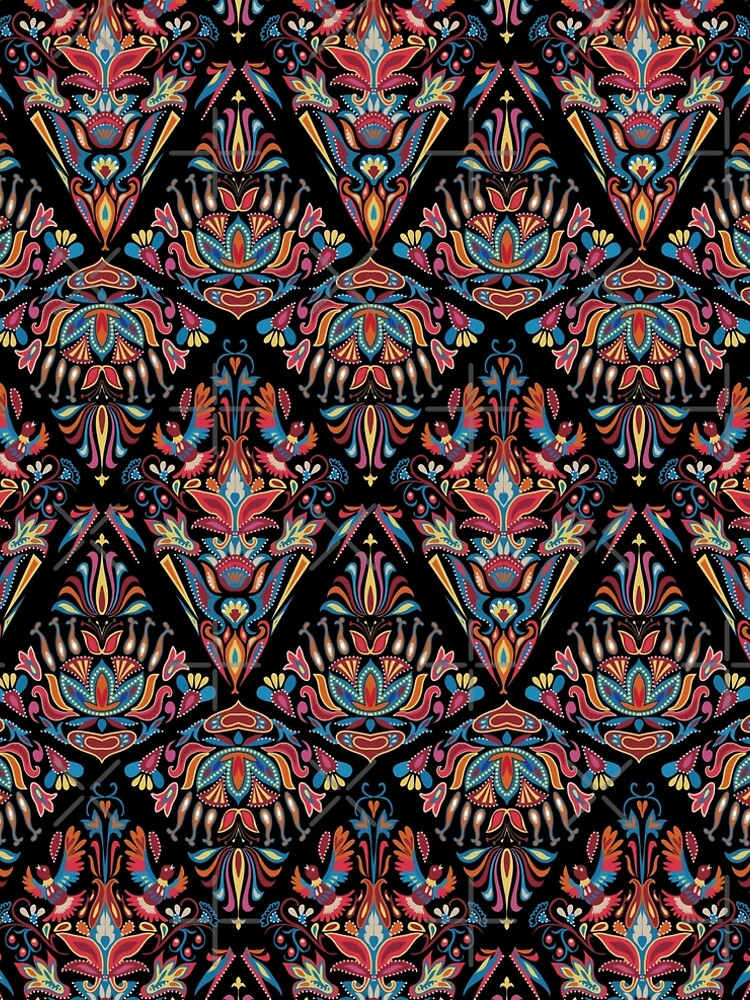 Bright colorful geometric floral tradition pattern by eszadesign