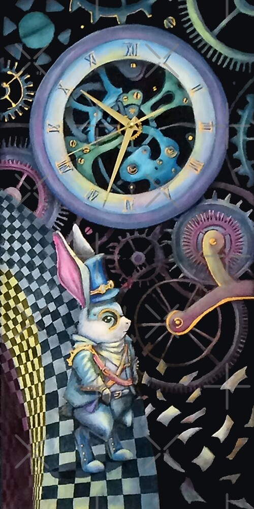 White rabbit trapped in time machine by Alisa Vasina