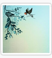Beautiful,hand pained, bird, tree branch, in teal shades,trendy,modern,decorative Sticker