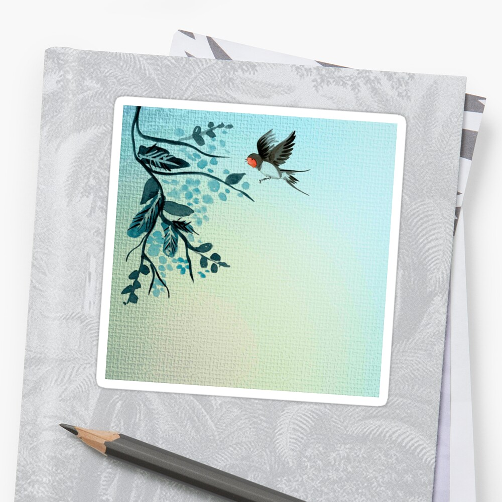 Beautiful,hand pained, bird, tree branch, in teal shades,trendy,modern,decorative by love999
