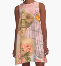 Beautiful,soft,pink,roses,bird,bird cage,beautiful young blond lady A-Line Dress