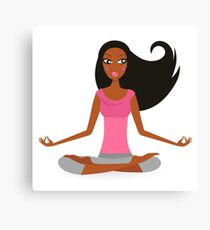 Cute afro woman practicing yoga exercise Canvas Print