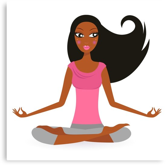 Cute afro woman practicing yoga exercise by Bee and Glow Illustrations Shop