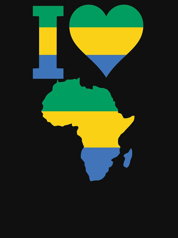 I love Gabon flag Africa map t-shirt by mamatgaye