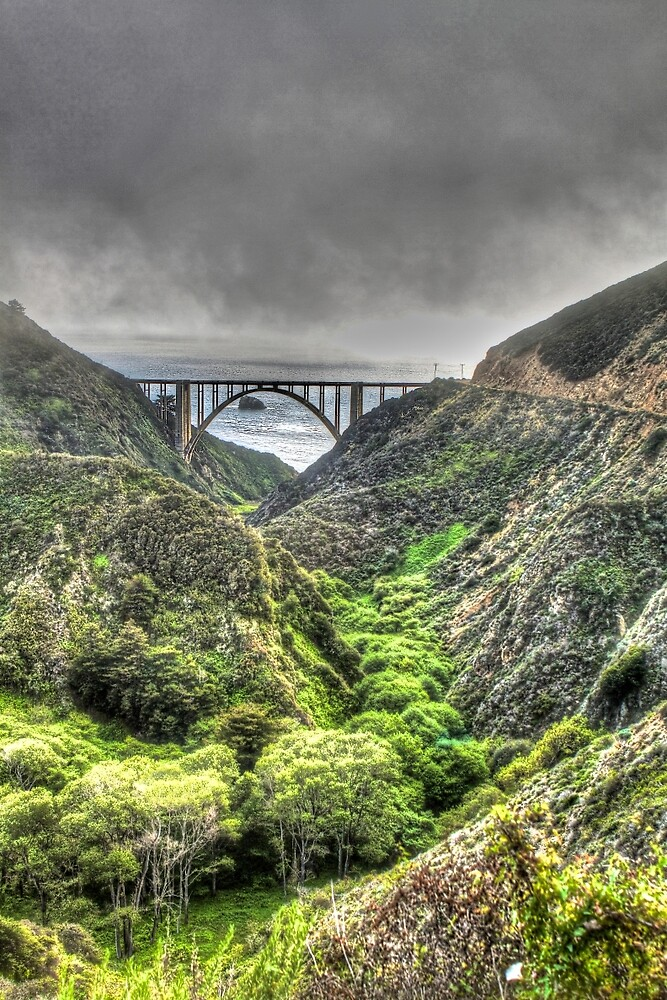 Bixby Bridge Through the Fog and Dale Portrait  by ScHPhotography Digital Paintings and Design