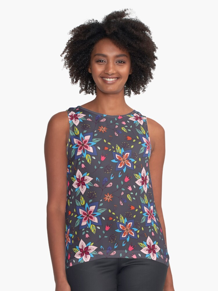 Fun colourful retro flower design in pink, lime green and turquoise, a pretty repeating design on a black background, classic statement fashion clothing, soft furnishings and home decor  Contrast Tank Front
