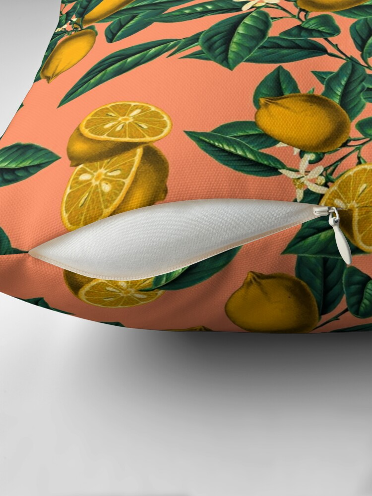 Alternate view of  Lemon and Leaf Throw Pillow