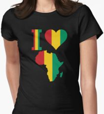I love Guinea Conakry flag Africa Map t-shirt Women's Fitted T-Shirt