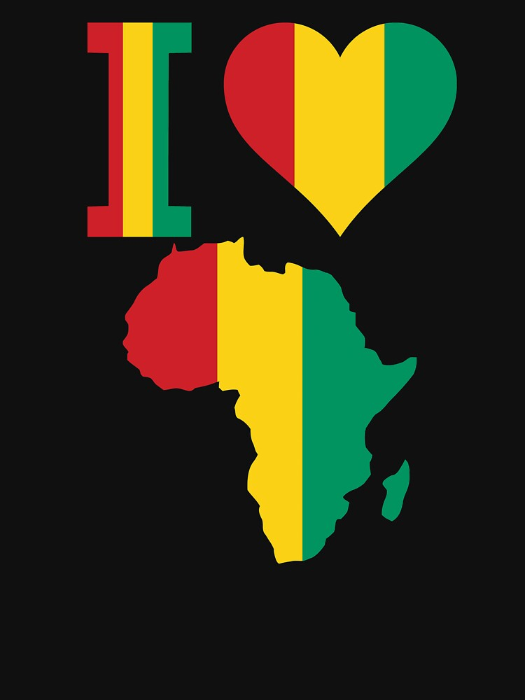 I love Guinea Conakry flag Africa Map t-shirt by mamatgaye