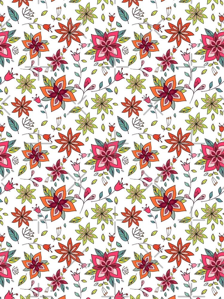 Retro 60's flower design in bright pink, lime green and orange, a colourful repeating floral design on a white background, classic statement fashion clothing, soft furnishings and home decor  by Mindreader