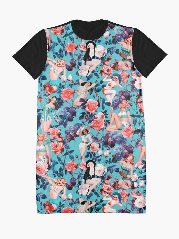 Alternative Ansicht von Pinup und Blumenmuster T-Shirt Kleid