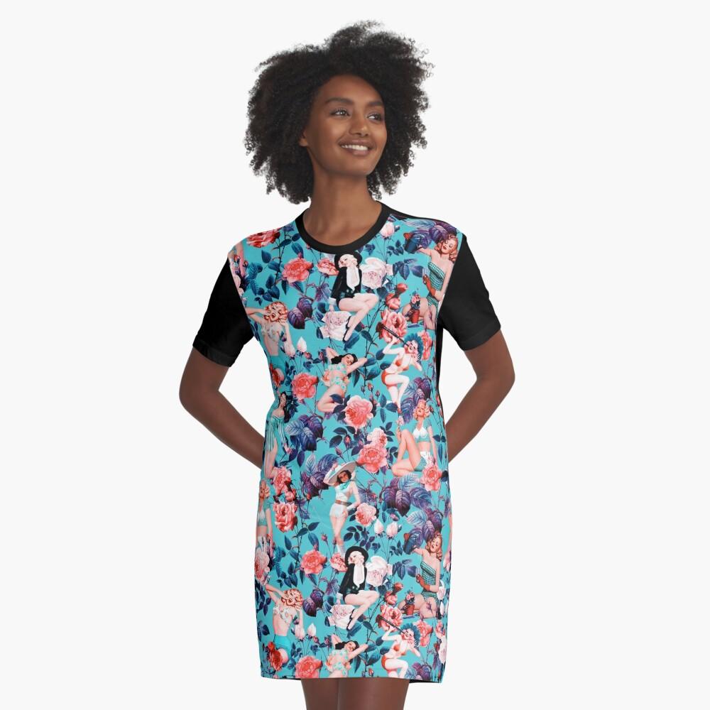 Pinup und Blumenmuster T-Shirt Kleid