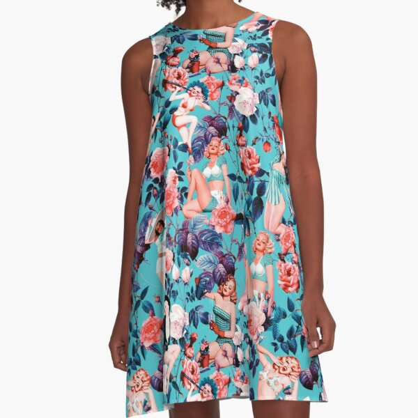 Pinup and Floral Pattern A-Line Dress